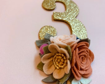 Floral cake topper, gold number Birthday Cake Topper, wool felt flowers, wildflowers, vanaguelite