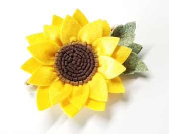 Sunflower Hair Clip, wool felt flowers, girl hair accessories