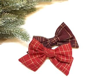 Christmas Plaid Bow, Plaid Red baby bow, Christmas baby Bows, Nylon Headband, Hair Clips, Vanaguelite