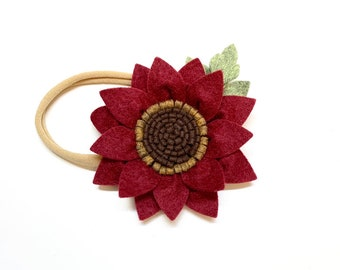 Sunflower Headband, wool felt flowers, baby girl hair accessories, baby headbands, busgundy, white or Yellow