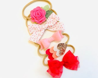 The Perfect Valentines ser, Baby bows Shades of pink, Valentine's Day headbands or hair clips