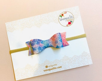 Baby Bows Soft faux leather, Mermaid sparkly Scales, Nylon Headbands or hair clips, Size 3 inches