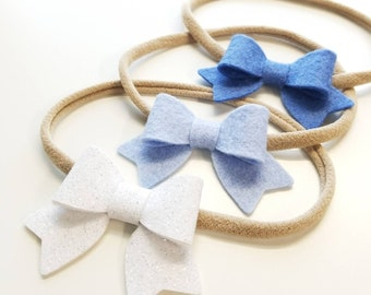 Baby bows, Handmade Mini Bows, set of 3, Baby headbands, nylon fits all, ice blue, cobalt, white sparkly.