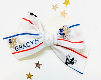 Baby bows, 4th of July bows, Stars and Stripes (hidden Mickey) print adorned with stars sequins, Personalized embroidered name