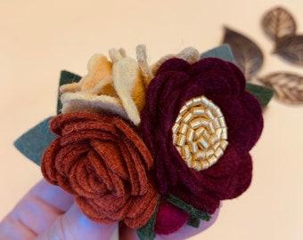 Fall Floral Headband or Clip, Ember-Burgundy Mini Cluster, Felt Flowers, baby girl hair accessories