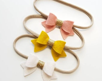Baby bows, Handmade Mini Bows, set of 3, Baby headbands, nylon fits all, mustard, blush, white, gold