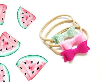 Baby bows, Watermelon set,  Handmade Mini Bows, set of 3, Baby headbands, nylon fits all, sparkly Bows, Fucshia, mint, pink