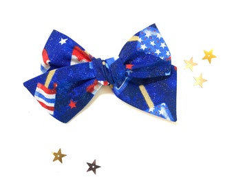 Baby bows, 4th of July bows, sparkly popsicles print, nylon headbands or hair clips