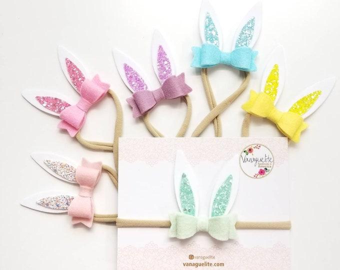 Featured listing image: Bunny Ears, Easter rabbit ears, baby headbands, alligator clip or nylon headband, Photo props, vanaguelite