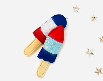 Popsicle hair clips, 4th of July bows, felt popsicles, set of 2, pigtail set