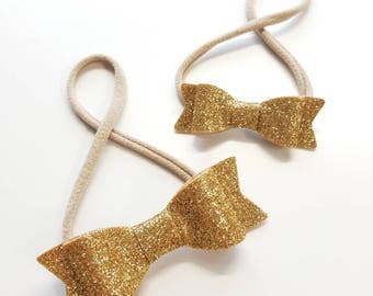 Baby Headband, Gold Baby bow, sparkly gold bow, nylon headband or hair clip