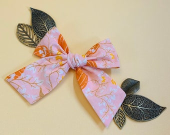 Fall Bow, A Fall on Pink fabric, Nylon Headbands or Hair Clip, Schoolgirl Bows