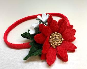 Christmas Floral Headband, wool felt flower, Poinsettia, headband or hair clip, vanaguelite