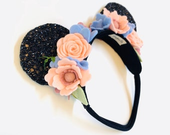 Mouse Ears, Floral Mouse Ears, Soft Base, baby headbands, black ears, sparkly faux leather, handmade wool felt flowers