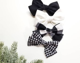 Black and white Baby bows, Nylon Headbands or Hair Clips, plaid bows