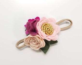 Dainty Floral Headband, mini rosettes, pink shades, felt flower, newborn hair accessories, mini, baby headbands, vanaguelite