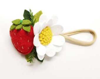Strawberries Headband or alligator clip, baby hair accessories, Fruits headbands