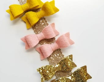Pigtail clips, Hair Clips, Vanaguelite, custom colors, Alligator Clips, baby bows, Barrettes Clips.