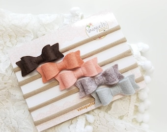 Baby Bows, Nylon Headbands, newborn headbands, Blush Color Palette Collection, handmade in the USA (Free Shipping)