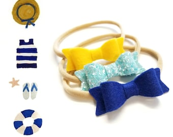 Baby bows, Sailor set,  Handmade Mini Bows, set of 3, Baby headbands, nylon fits all, Royal blue, Sparkly aqua, sunshine yellow
