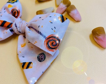 Halloween Bow, I want Candy Print, Nylon Headband, Hair Clip, baby bow, Vanaguelite, hair accessories