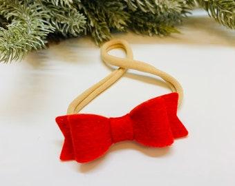 Red Bow, Wool felt Bow, Nylon Headband, Hair Clips, Vanaguelite