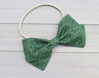 Floral Green Baby Bow Nylon Headband or Hair Clip