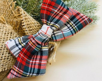 Christmas Plaid Bow, Plaid Red, White and green baby bow, Christmas baby Bows, Nylon Headband, Hair Clips, Vanaguelite