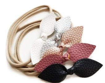 Baby headbands, Dusty Pink collection, knot bows, nylon headbands, soft vegan leather, vanaguelite