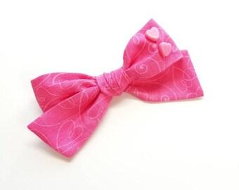Baby Bow, Hot Pink hearts, Nylon Headbands or Hair Clip, Valentine's Day