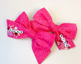XOXO Bows, Valentine's Bows, Pigtail set of 2, Vanaguelite, hair accessories