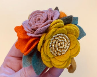 Fall Floral Headband or Clip, Mini Rosettes Mustard, Dusty Pink, orange, Felt Flowers, baby girl hair accessories