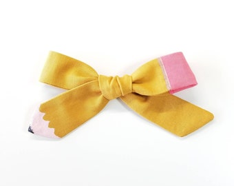 Pencil Bow, Back to school Bows, alligator clips or nylon headbands, School girl bows
