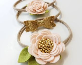 Floral headbands blush and gold