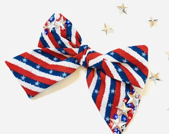 Baby bows, 4th of July bows, Stars and Stripes print adorned with stars sequins, nylon headbands or hair clips