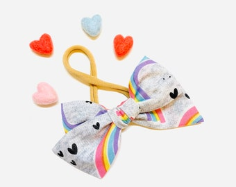 Valentine's Day Baby Bow, love and rainbows, Nylon Headbands or Hair Clip, school girl bow