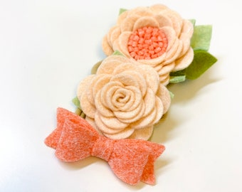 Coral and Blush Mini Floral set, nylon headbands, baby accessories, floral headbands, vanaguelite, baby girl, baby bows, newborn headband.