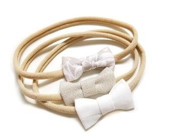 Newborn bows, Neutral colors tiny bows, Itty Bitty Bows, baby girl headbands