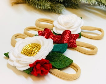 Holidays, Mini Flower, Trio Set, Christmas flower, baby headbands, hair accessories, vanaguelite, floral headbands, red sparkly.