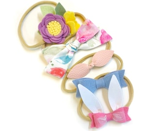 Baby bows, The Perfect SPRING set, baby headbands or hair clips, newborn to toddler, bunny ears