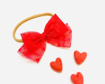 Valentine's Day Baby Bow, Add to your order, Nylon Headbands or Hair Clip, not for individual sale