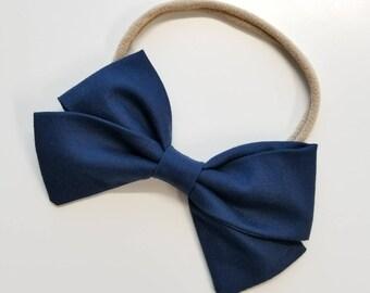 Navy Blue, Handmade Bow, Nylon Headband, Hair Clip, sailor bow, navy headband, fabric bow, vanaguelite, hair accessories, baby girl.