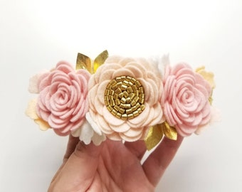 Flower Crown, Blush and gold Floral Headband, felt flowers, hair accessories, baby headband, vanaguelite, baby accessories, First Birthday