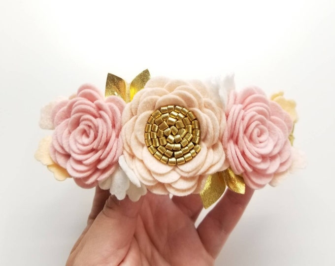 Featured listing image: Flower Crown, Blush and gold Floral Headband, felt flowers, hair accessories, baby headband, vanaguelite, baby accessories, First Birthday