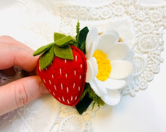 Strawberry Headband or alligator clip, baby hair accessories, Fruits headbands