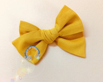Baby bow, The Sunshine Rainbow, Embroidered Rainbow, nylon headband or alligator clip, rainbow bows