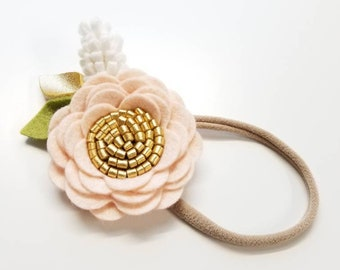 Blush and gold, Floral headband, flower, baby girl, newborn gift, vanaguelite, felt flower, soft pink and gold, nylon one size fits all