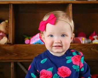 Girl bow, Solid Fuchsia Handmade Bow, Nylon Headband or Hair Clip, hair bows