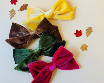 Velvet Bows, nylon headbands or hair clips, Velvet Rainbow, Fall baby girl hair accessories, Vanaguelite