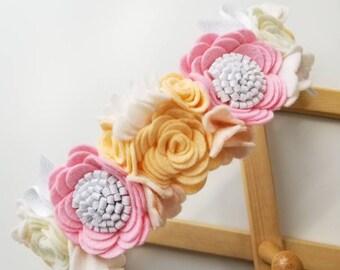Floral Headband/ Flower crown/ First Birthday/ Crown Ballerina Rose/ Vanaguelite/ felt flower/ baby crown/ ballerina/ rose.